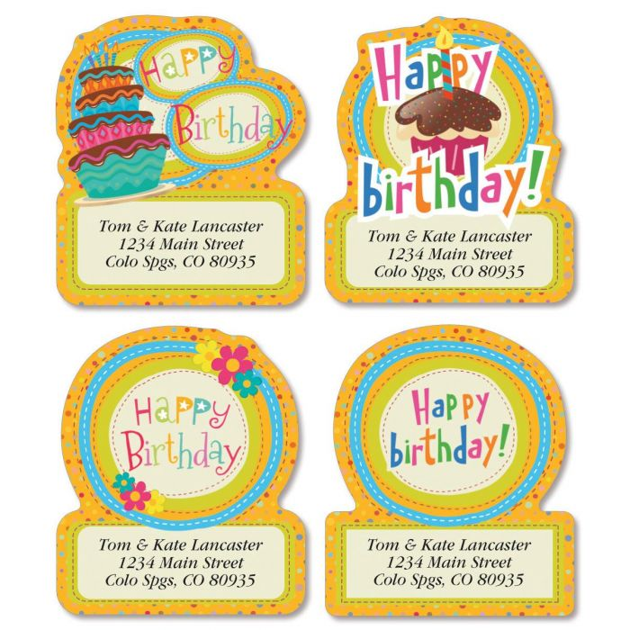 Sweet Birthday Diecut Return Address Labels  (4 Designs)