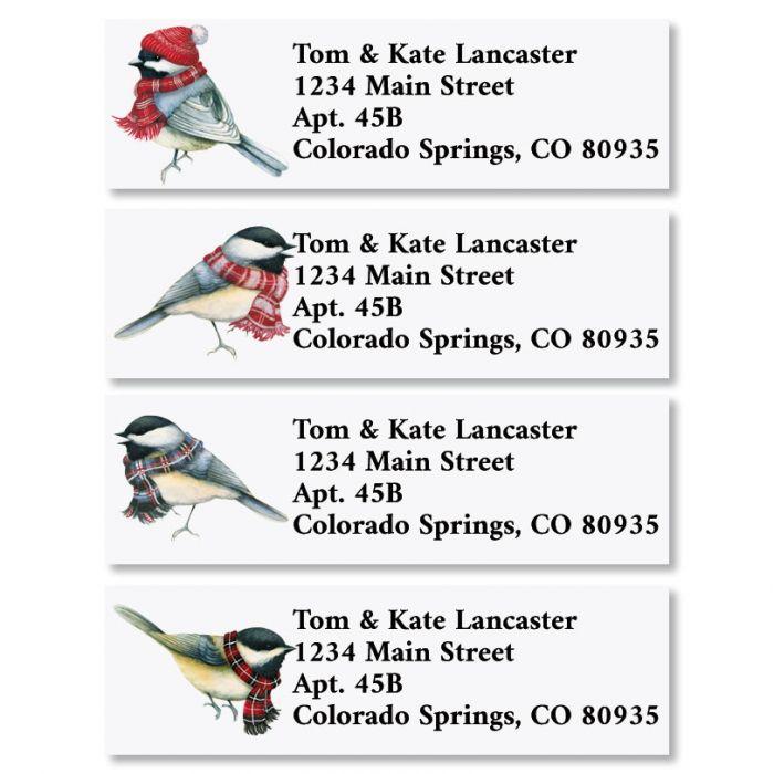 Winter Chickadees Classic Christmas Address Labels (4 Designs)