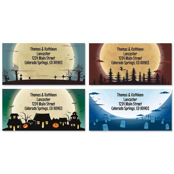 Midnight Spook Halloween Border Return Address Labels (4 Designs)