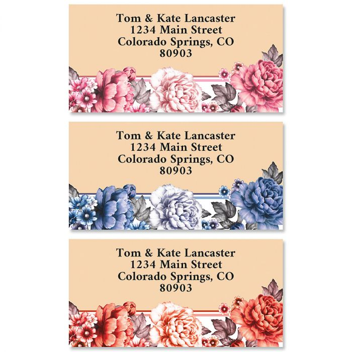 Backyard Flowers Border Return Address Labels (3 Designs)