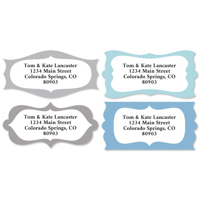 Modern Flourish Diecut Return Address Labels (4 Designs)