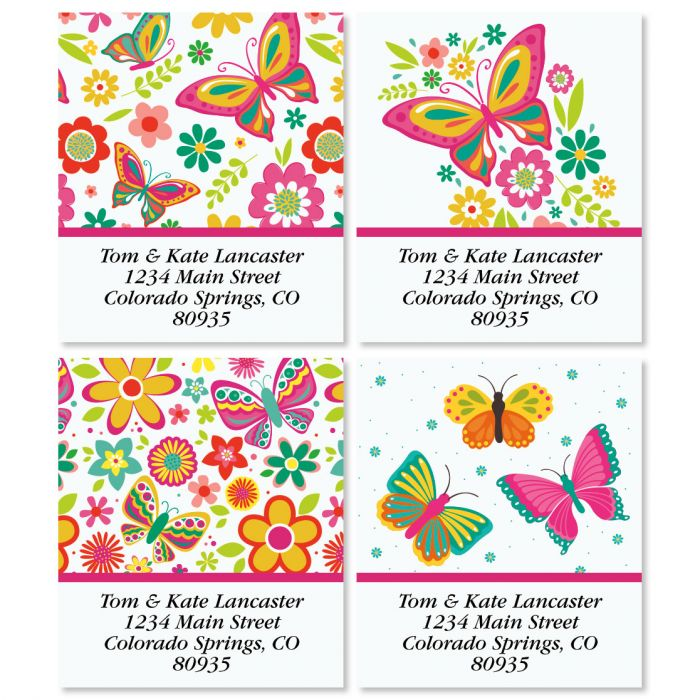 Happy Butterflies Select Return Address Labels (4 Designs)