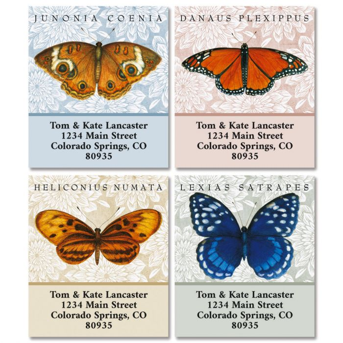 Butterfly Species Select Return Address Labels (4 Designs)