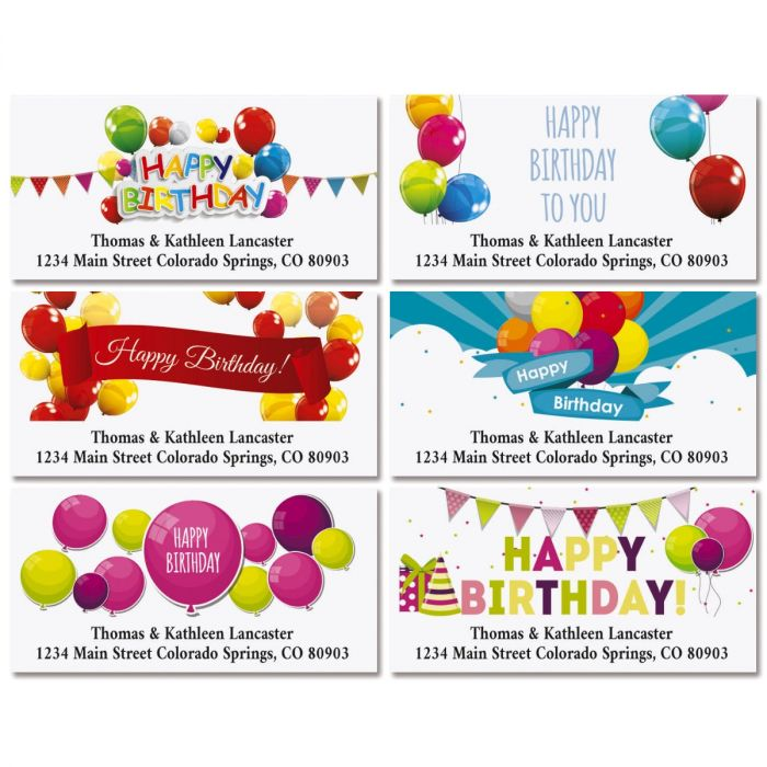 Happy Birthday Deluxe Return Address Labels (6 Designs)