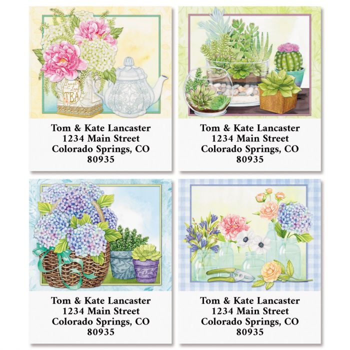 Farmhouse Flowers Select Return Address Labels (4 Designs)