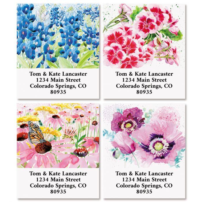 Watercolor Florals Select Return Address Labels (4 Designs)