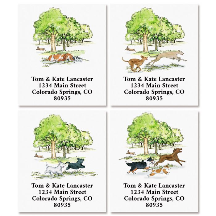 Dog Days Park Select Return Address Labels (4 Designs)