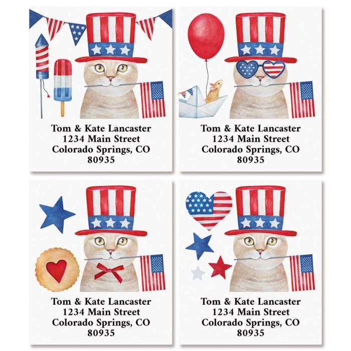 Patriotic Cats Select Return Address Labels (4 Designs)