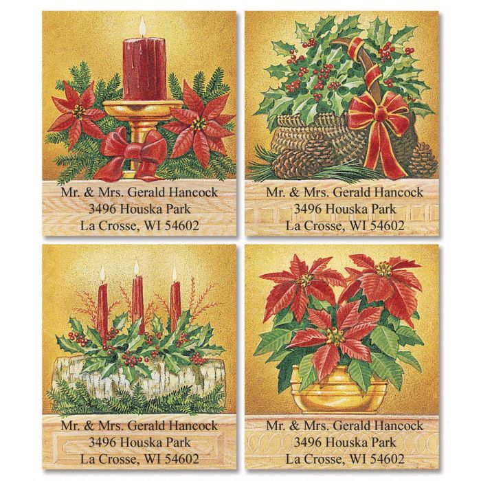Holly & Poinsettias Select Return Address Labels   (4 Designs)