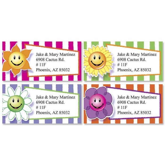 Flower Faces Border Return Address Labels  (4 Designs)