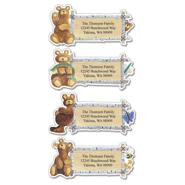 Bear Lodge Buddies Diecut Return Address Labels  (4 Designs)