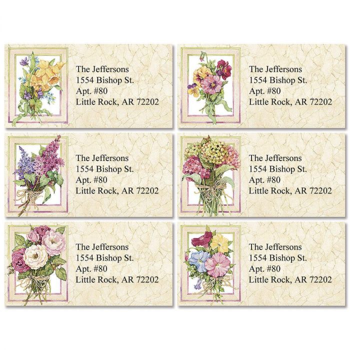 Sandi's Heirloom Bouquets Border Return Address Labels  (6 Designs)
