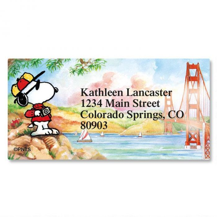 Snoopy™ Around the World Border Return Address Labels  (8 Designs)