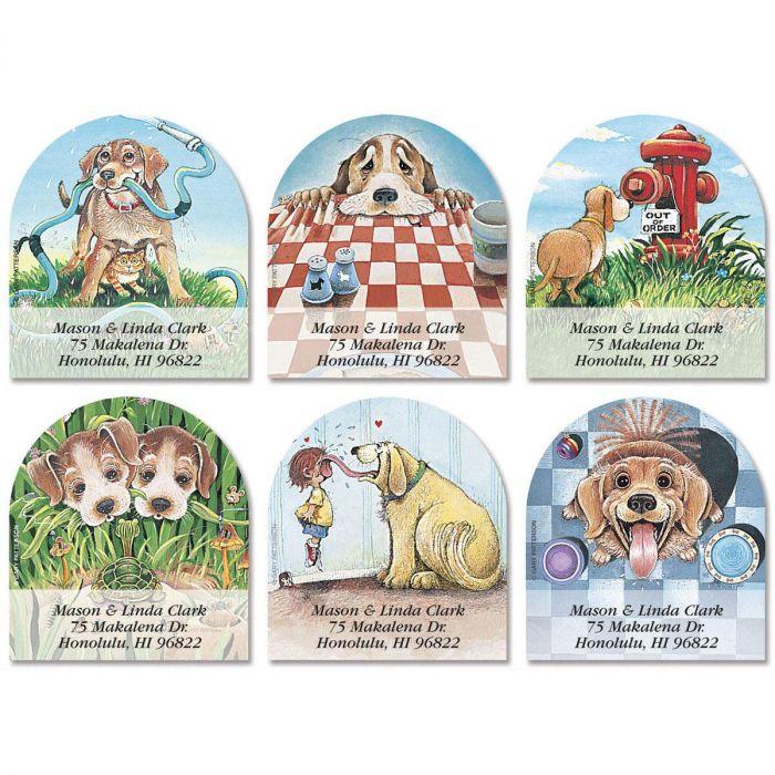 Dog Day Afternoon Diecut Return Address Labels  (6 Designs)
