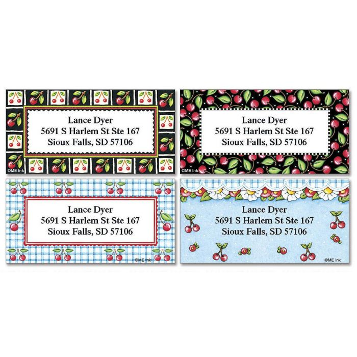 Mary's Cherries Border Return Address Labels  (4 designs)