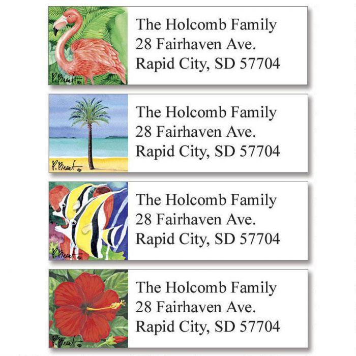 The Tropics Classic Return Address Labels  (4 Images)