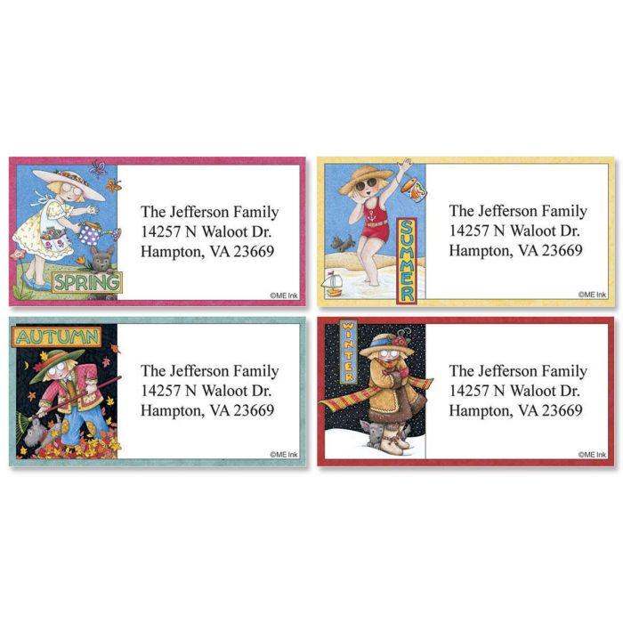 Ann Estelle Seasonal Border Return Address Labels  (4 Designs)