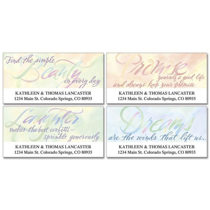 Watercolor Thoughts Deluxe Return Address Labels  (4 Designs)