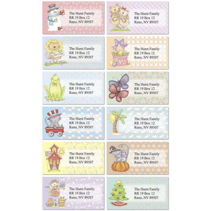 Patterns of the Season  Border Return Address Labels  (12 Designs)
