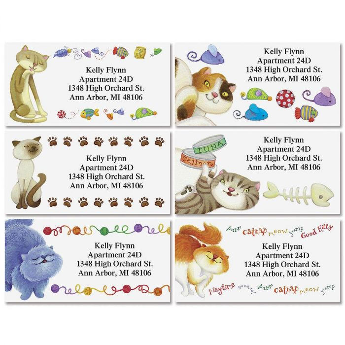 The Cat's Meow Border Return Address Labels  (6 Designs)