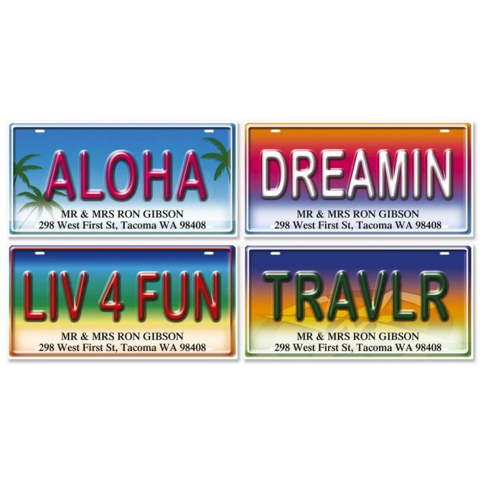 License Plates Deluxe Return Address Labels  (4 Designs)