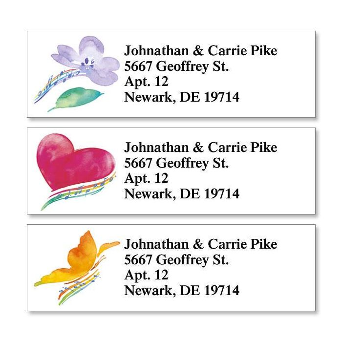 Watercolor Notes Classic Return Address Labels  (3 Designs)