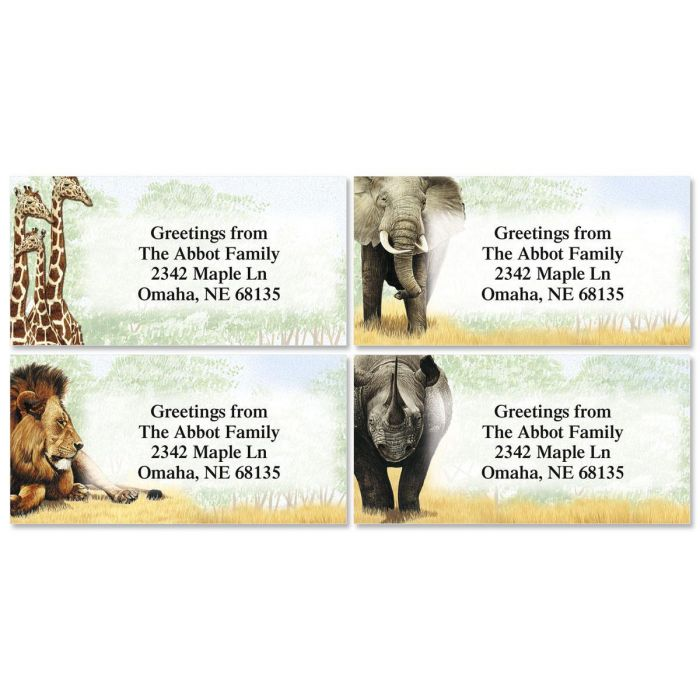 Trip to Africa Border Return Address Labels   (4 Designs)