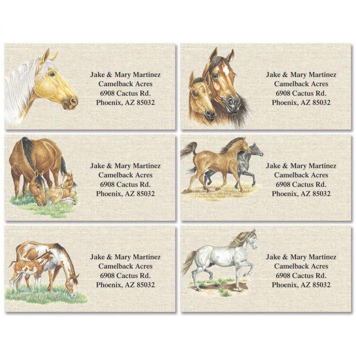Happy Horses Border Return Address Labels  (6 Designs)