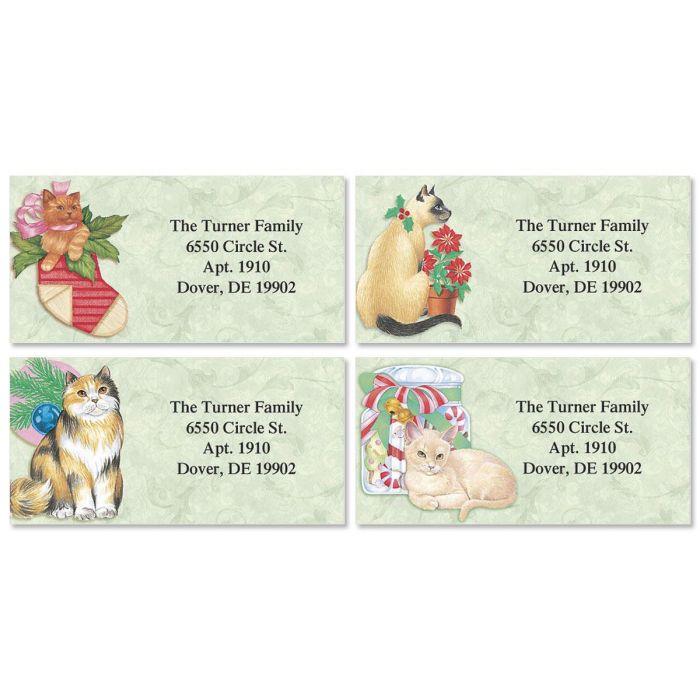 Christmas Kitty  Border Return Address Labels  (4 Designs)