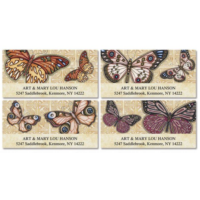 Butterflies  Deluxe Return Address Labels  (4 Designs)