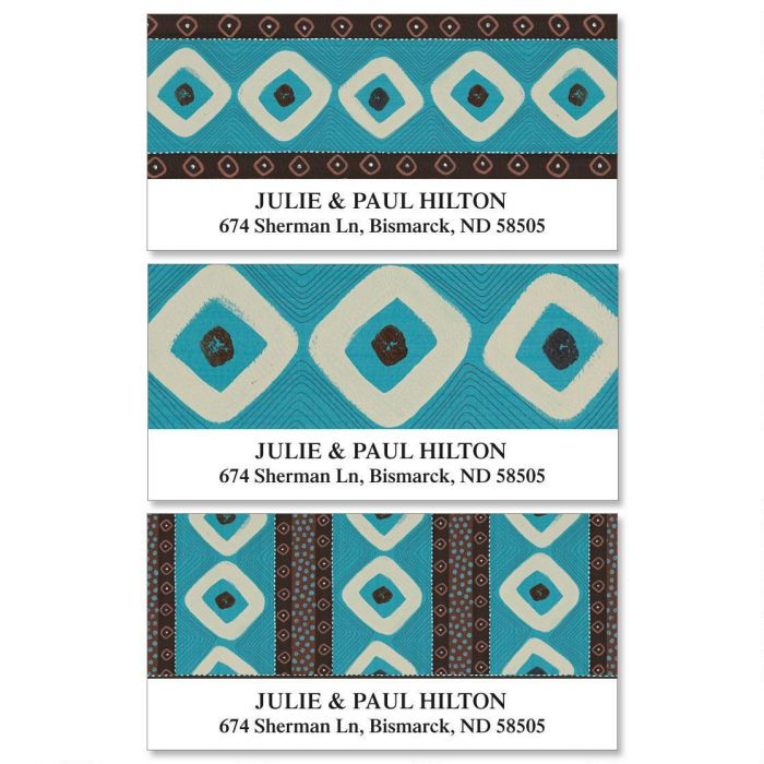Brown & Turquoise  Deluxe Return Address Labels  (3 Designs)