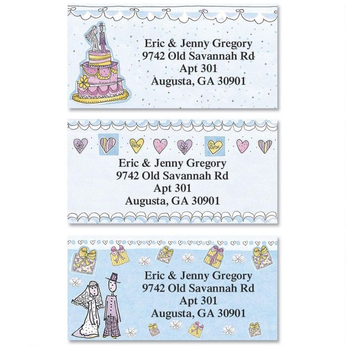 Wedding Party Border Return Address Labels  (3 Designs)