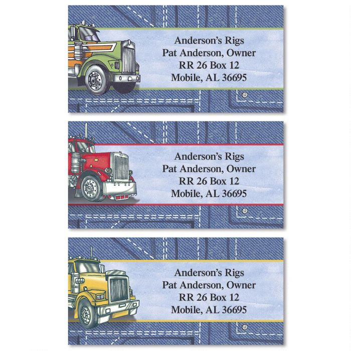 Big Rigs Border Return Address Labels  (3 Designs)