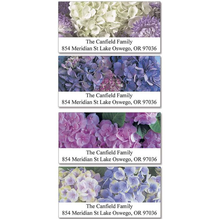Hydrangea Deluxe Return Address Labels  (4 Designs)