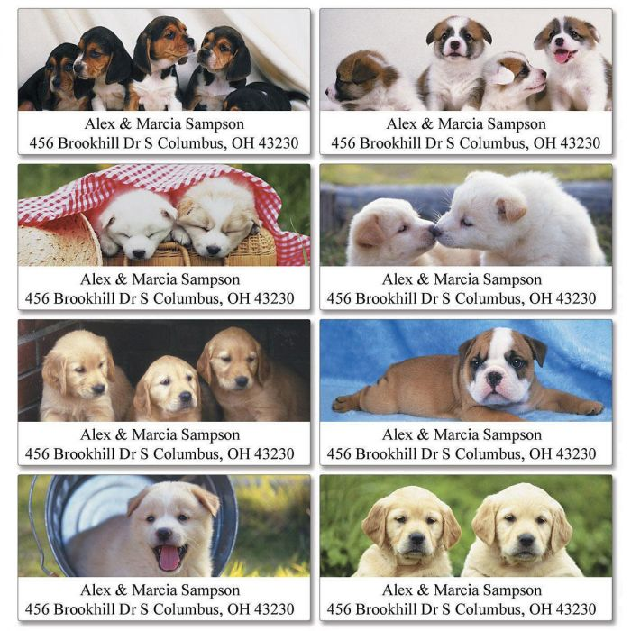 Puppy Days Deluxe Return Address Labels    (8 Designs)