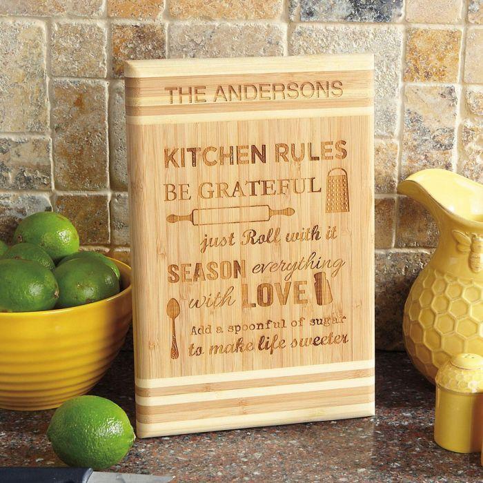 Kitchen Rules Custom Wood Cutting Board