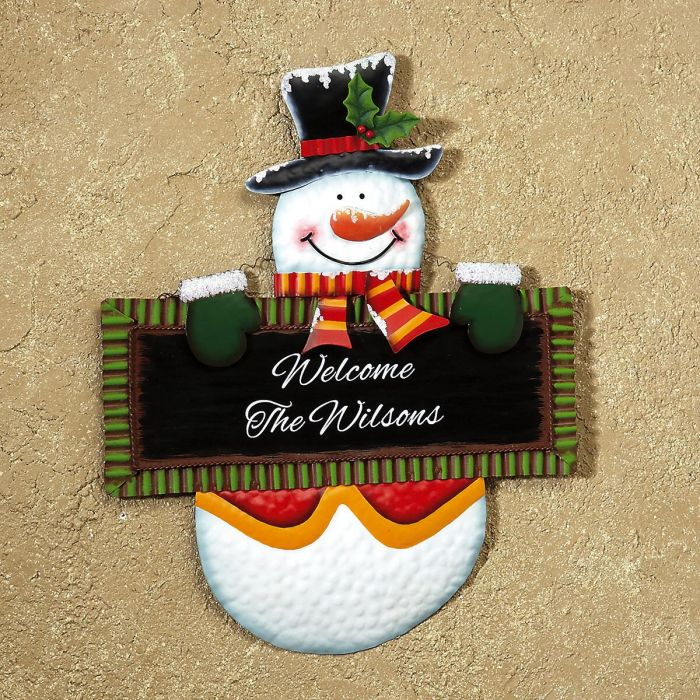 Personalized Snowman Welcome Sign