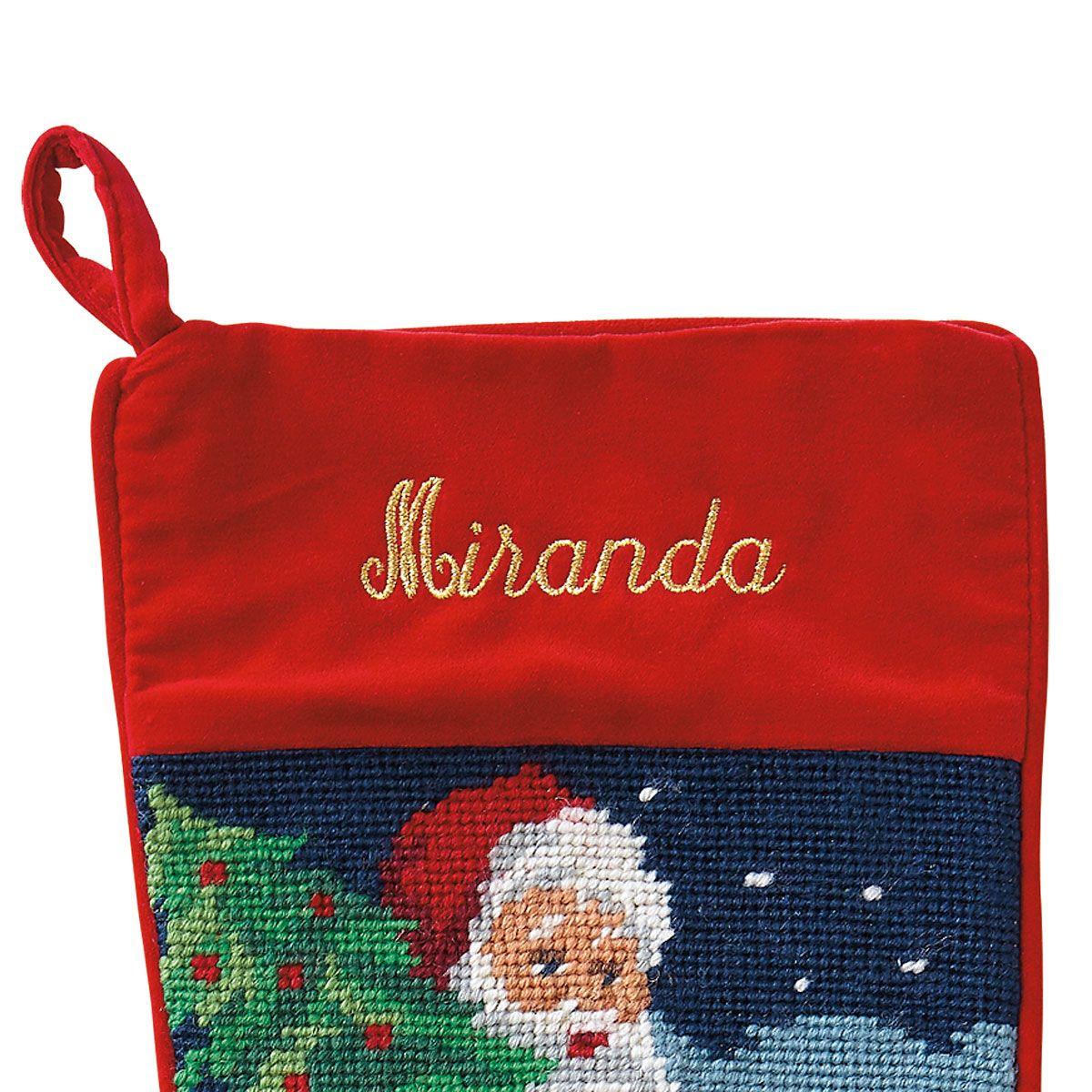 Santa Heirloom Needlepoint Custom Christmas Stocking