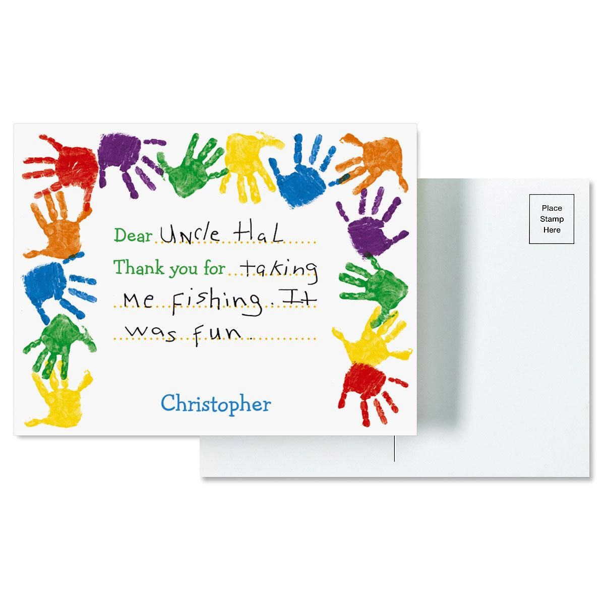 Kids Handprints Personalized Thank You Postcards