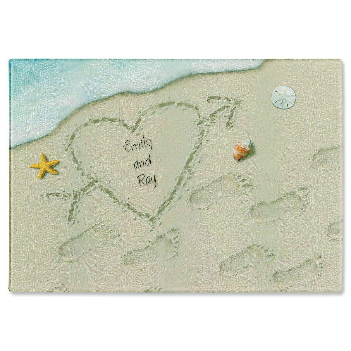 Heart in Sand Custom Cutting Board