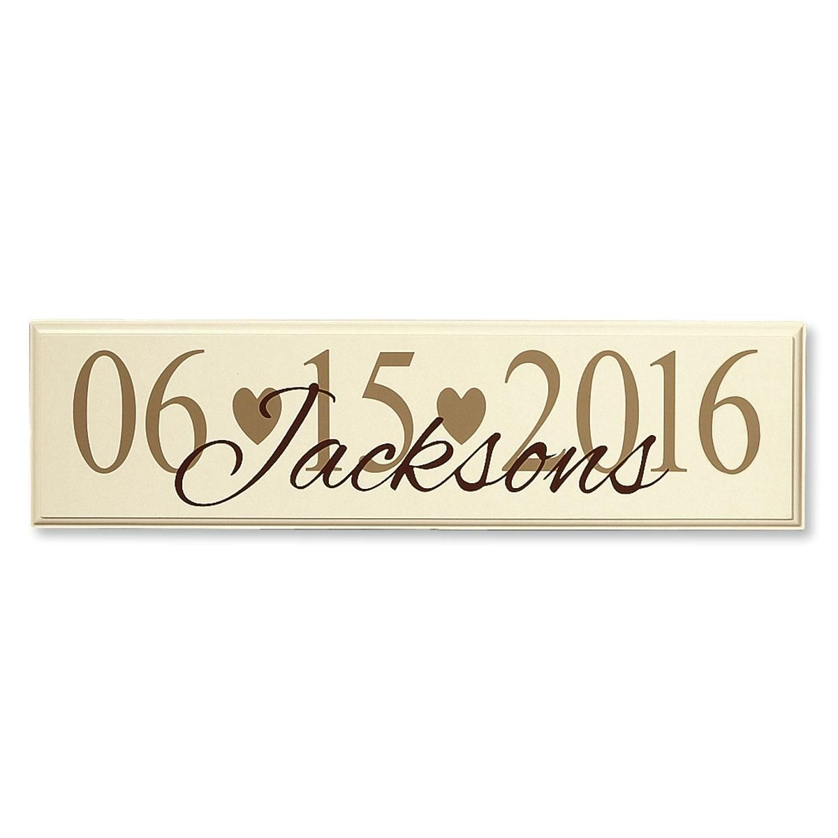 Wall Art With Wedding Date : Wedding date personalized wooden plaque colorful images