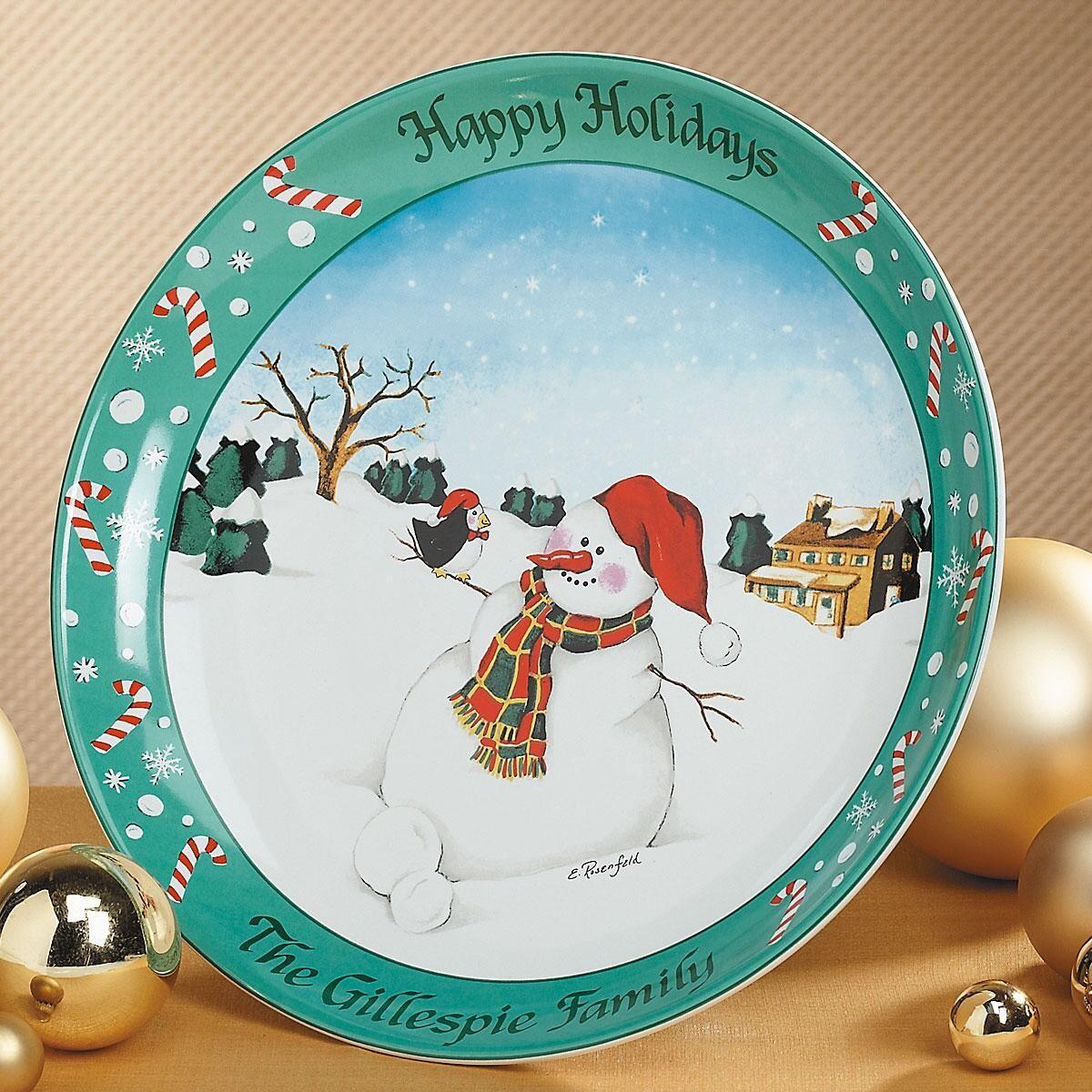 Personalized  Snowman Platter
