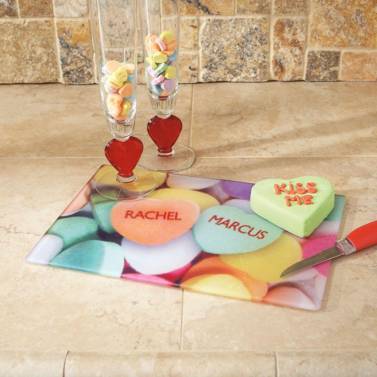Candy Heart Custom Glass Cutting Board