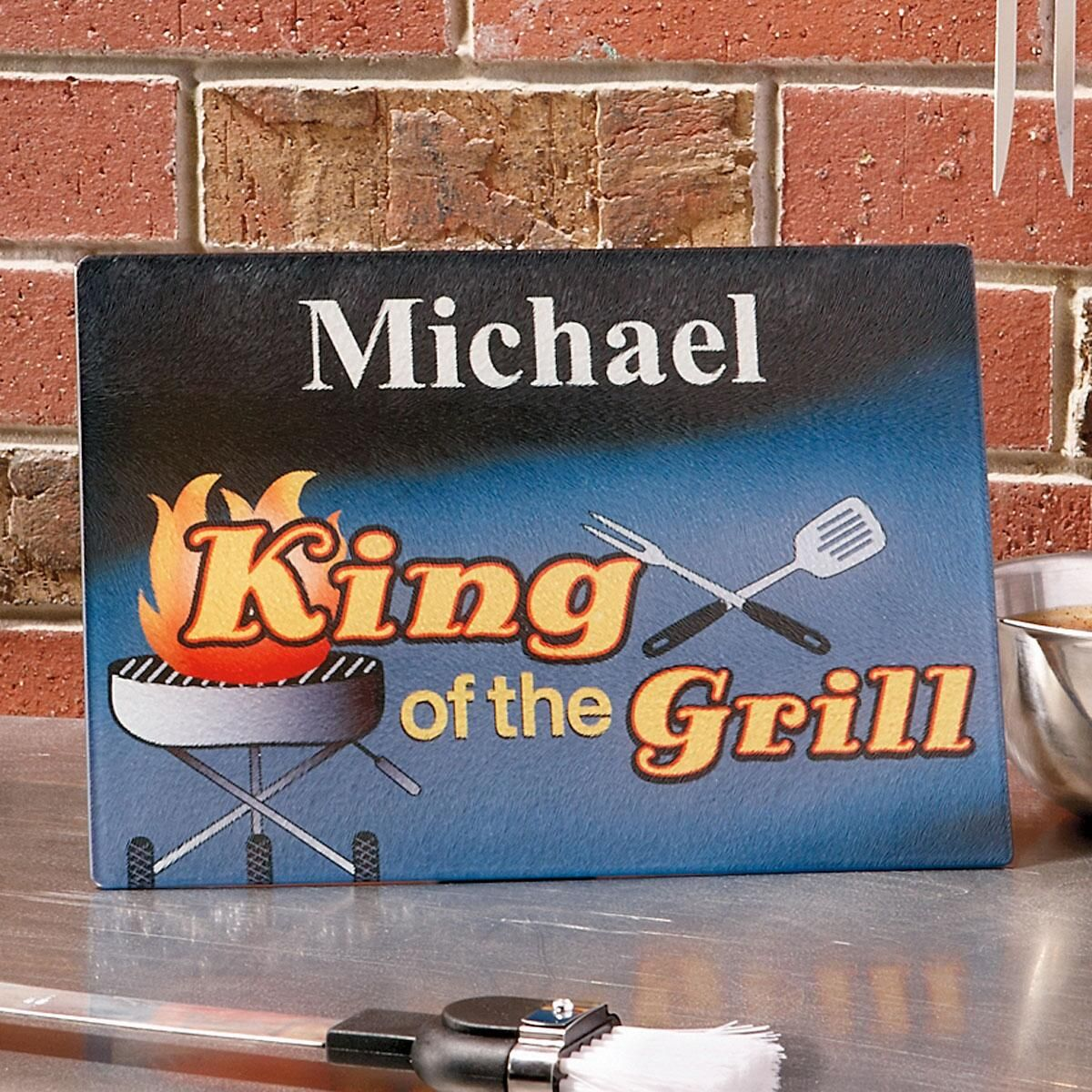 King of the Grill  Personalized Cutting Board