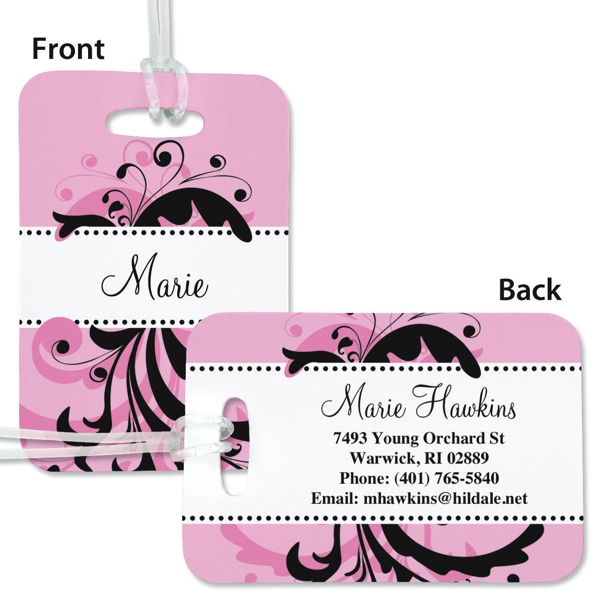 Pink & Black Swirl Personalized Bag Tag