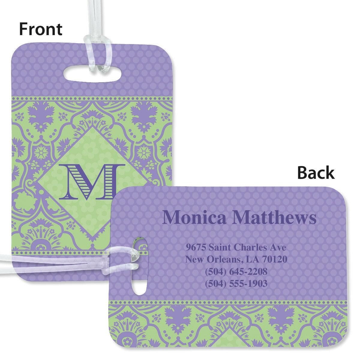 Damask Personalized Bag Tag