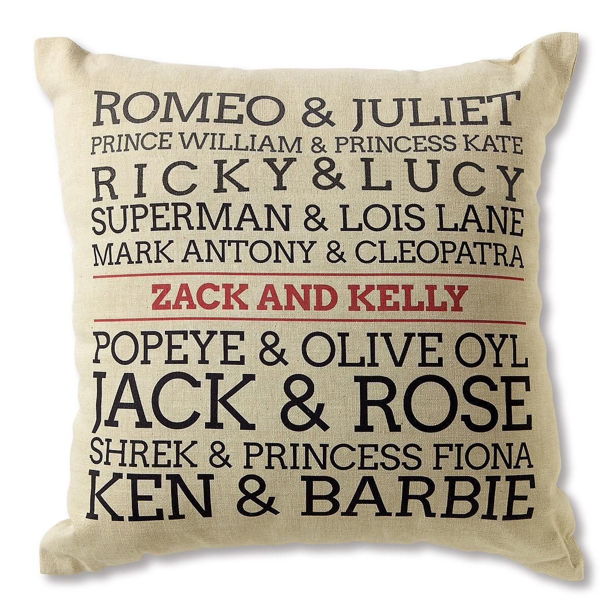 Famous Couples Personalized Burlap Pillow