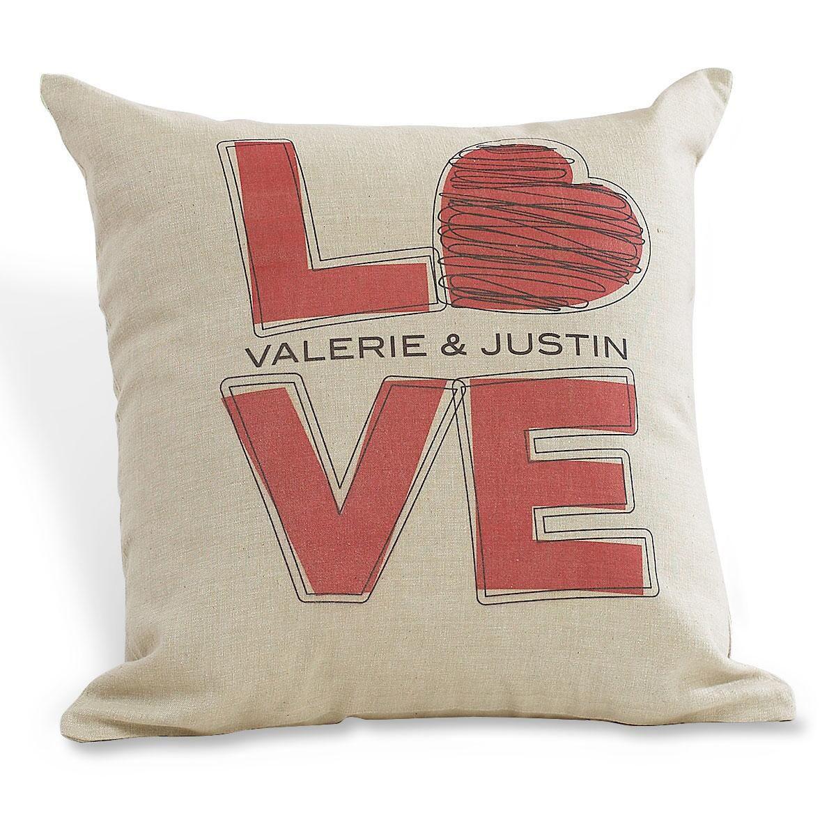 L-O-V-E Personalized Burlap Pillow