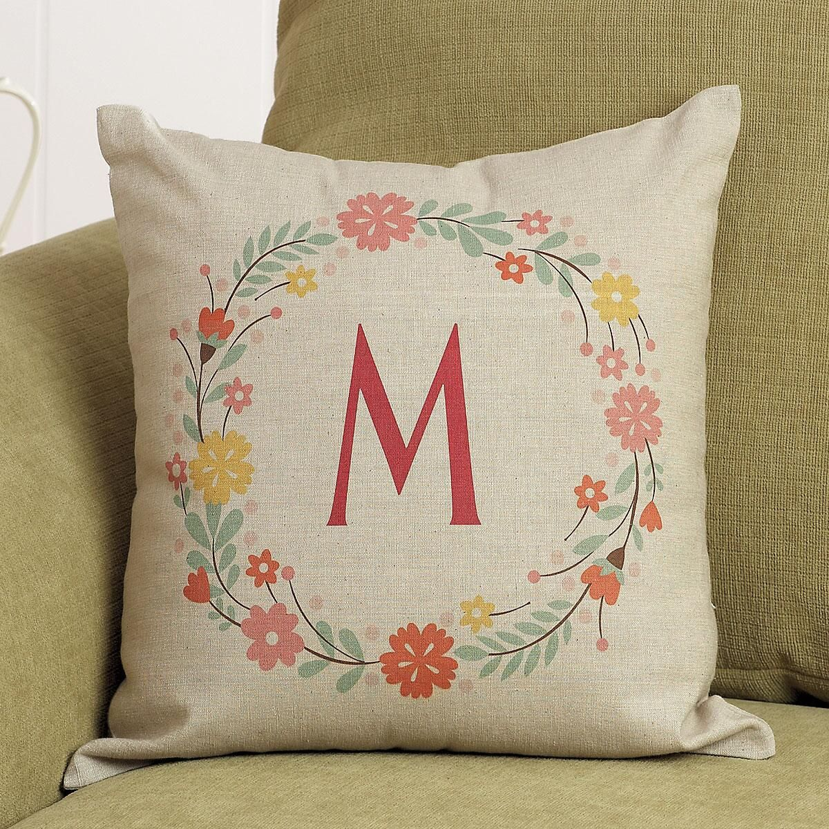 Floral Initial Personalized Pillow