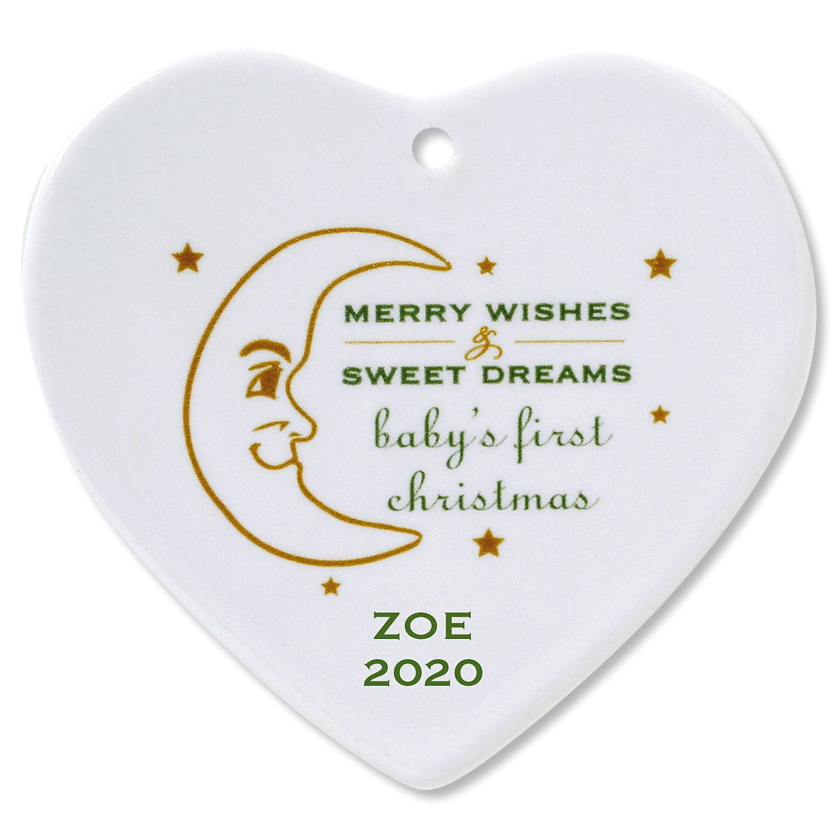 Custom Merry Wishes Heart Baby's 1st Christmas Ornament